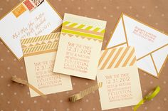 DIY Tutorial: Modern Washi Tape Save the Dates by Antiquaria for Oh So Beautiful Paper