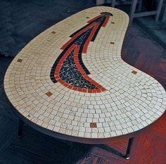 Mid Century Mosaic Kidney Shaped Table