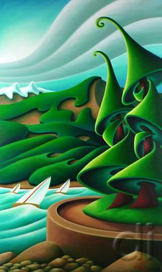 Sailing on English Bay ~ by Dana Irving Canadian Painters, Canadian Artists, Artist Art, Artist At Work, Artist Point, Landscape Illustration, Landscape Art, Naive Art, Tree Art