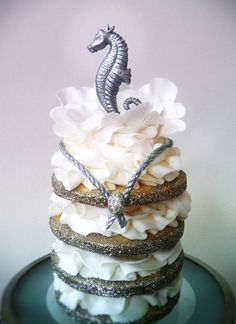 Silver Seahorse Tiered Cookie, Connie Cupcake, her work is gorgeous