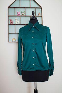 pointed collar shirt blouse NOS deadstock 60s 70s por aspirina, $12.00