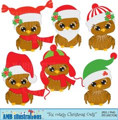 Christmas Baby Owls...beautiful clipart for Christmas perfect scrapbooking and crafts, #Clipart, #clip art, #AMBillustration, #Anne-Marie Buscio, #illustration, #scrapbooking, #digital art, #vector art, #digital clipart, #Owl, #Owl clipart, #Owl clip art, #Christmas,