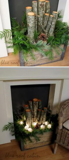 Old Crate Filled With Logs, Greens, Pinecones, And Lights For Christmas.