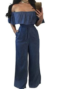 Xswsy XG Womens Off Shoulder Slim Fit Ruffle Floral Casual Chiffon Jumpsuits Rompers