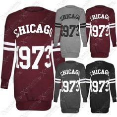 NEW LADIES WOMEN CHICAGO 1973 PRINT TOP LONG SWEATSHIRT JUMPER LOOK SLEEVED TOPS | eBay #shopping #clothing #style #usa