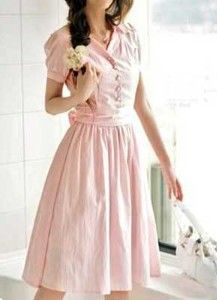 Pink belted dress for church on Sundays! I have a brown dress I can refashion perfectly, yes!