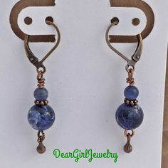 Sodalite and copper earrings  RADIATION by DearGirlJewelry on Etsy