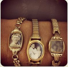 Take old, broken watches and put old family photos in them!