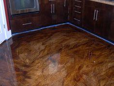 These cabinet color with floor colors Acid Wash Concrete, Stained Concrete, Concrete Patio, Hardwood Floors, Flooring, Floor Colors, Cabinet Colors, Basement Ideas, Backyard Ideas
