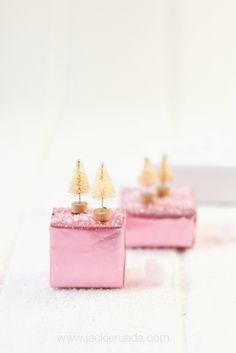 Little pink presents with mini bottle brush trees