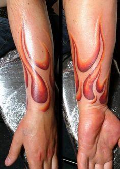 Flaming Arm Tattoo (lower arm + wrist) |  Shared by LION Fire Tattoo, Smoke Tattoo, Death Tattoo, New Tattoos, Best 3d Tattoos, Biker Tattoos, Great Tattoos, Back Tattoos, Future Tattoos