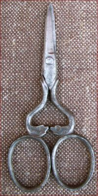 Delphins Engraved French Iron Embroidery Sewing Scissors; 1880
