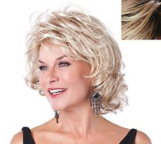 ALLURING by Toni Brattin is a glamorous mid-length wig featuring celebrity style with silky waves, sassy curls, and wispy bangs, plus the look and feel of healthy, natural hair. The Custom Fit Cap easily adjusts to most any head size. Short Shag Hairstyles, Celebrity Hairstyles, Ladies Hairstyles Over 50, Wilshire Wigs, Curly Hair Styles, Natural Hair Styles, Corte Y Color, Light Blonde, Ash Blonde