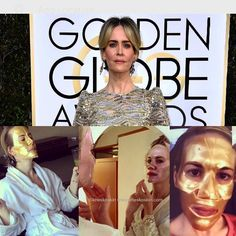 Sara Paulson getting her on with before Golden Globe Awards 2017 Golden Globe Awards 2017, Golden Globes, Skincare, Celebrities, Instagram Posts, Products, Fashion, Moda, Fashion Styles