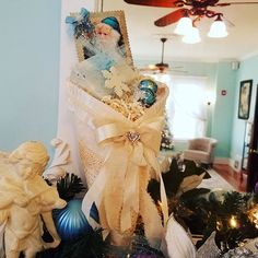 Tammy hand makes these awesome vintage Christmas cones, tags and decorations. #Christmas #decor #bedandbreakfast #enid