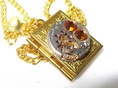 Steampunk Jewelry Book Locket Gold plated Necklace vintage watch movement Citrine Swarovski crystals gift for women friend Gift for Her OOAK