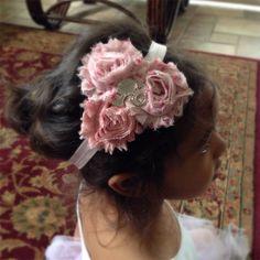 Pink Shabby Chiffon Flower with a Girl Silhouette Rhinestone Jewel, Baby Girl Headband, Infant Girl Headband, Newborn Girl Headband on Etsy