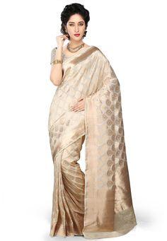 Buy Off White Pure Silk Banarasi Saree With Blouse online, work: Woven, color: Off White, usage: Bridal, category: Sarees, fabric: Silk, price: $909.20, item code: SNEA307, gender: women, brand: Utsav