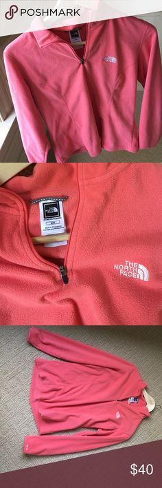 Coral fleece North face pullover No damage or wear. Great condition.  coral colored North Face Jackets & Coats