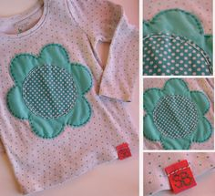 Hand stitched teal flower tee