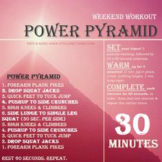 Tough cardio challenge, but anyone can do it! All you need is 30 minutes, and a killer attitude to climb this pyramid.