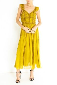 Silk Haboti Color: Chartreuse High slit Back zip Lined Model is and wears a size US 2 Ulla Johnson, Spring Summer Fashion, Florence, Summer Dresses, Silk, Chic, Swimwear, Model, How To Wear