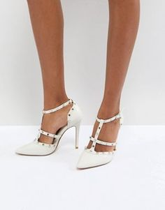 e6dce3b0e7bb Dune London Bridal Studded Court Shoe with Pointed Toe and Caging Detail  Bridal Heels