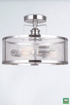 Canarm Beckett Semi-Flush Ceiling Light with Brushed Nickel Finish and Mesh Metal Shade