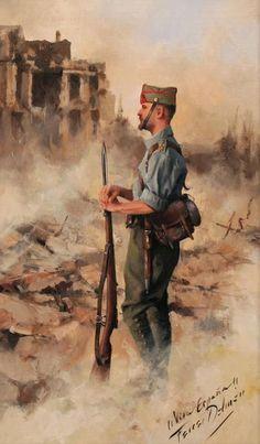 chucrutypilsen: Legion 1936 by Augusto. - Army n'Languages n' Stuff Spanish War, Spanish Heritage, Spanish Painters, Spanish Artists, Military Art, Military History, Military Uniforms, Military Drawings, Historical Art