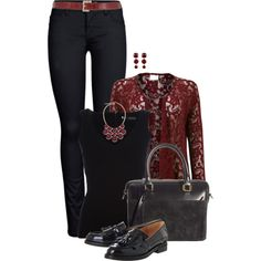 Leather, Lace, & Loafers, created by kswirsding on Polyvore