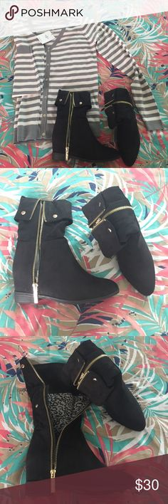 """⚜️2 ways black booties DbDk Fashion Gold zip Beautiful lining """"Db Dk Fashion"""" Shoes Ankle Boots & Booties"""