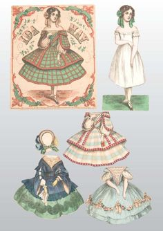 """McLoughlin  """"Ida May"""", a 7.5"""" doll with a folder and four lovely gowns. This front/back doll and her clothing are near mint. This set is not complete."""