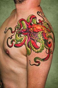 Bright Octopus Tattoo