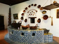 Mexican kitchen inside a convent in Mexico.