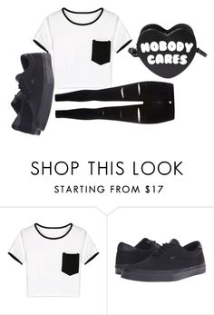 """""""Untitled #4872"""" by kris-mathers ❤ liked on Polyvore featuring Killstar, WithChic, Vans and River Island"""