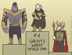 """dkettchen: """" Worst Space Dads I watched GotG vol2 yesterday xD (I had to disqualify Laufey, cause he like didn't even try being a parent, he just left Loki to die, the others at least spent SOME time with their kids, even if it was only to use them..."""