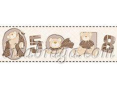 Faixa Decorativa Bambino´s Bobinex  (Nacional) - Ursinhos (Tons de Marrom/ Tons de Bege) - COLA GRÁTIS
