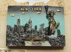 Resin Fridge Magnet, Hand Painted, 7.9 x 5.6 cm, New York USA