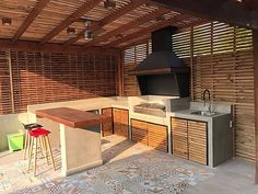 Concrete Kitchen, Patio Makeover, Outdoor Kitchen Design, Garden Living, Mini House, Outdoor Kitchen Decor, Solar Garden Decor, Modern Garden Design, Roof Design