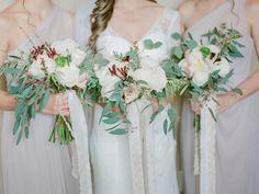 Gray bridesmaid dresses from David's Bridal.