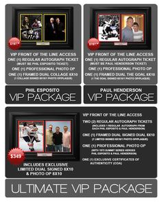 Paul Henderson & Phil Esposito Public Signing VIP Packages