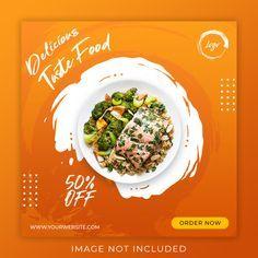 Food menu promotion post banner template | Premium Psd #Freepik #psd #banner #flyer #food #menu Food Banner, Banner Template, Food Menu, Banner Design, Promotion, Art Ideas, Social Media, Ads, Graphic Design