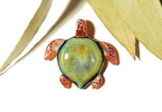 Mossy Green Turtle - Glass Turtle Necklace Pendant  by CreativeFlowGlass at www.blownglassturtle.com