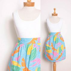 1980s Cotton Skort / Neon Abstract Leaves Print by pineapplemint, $23.00