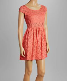 Loving this Bailey Blue Coral Lace Fit-& Flare Dress on #zulily! #zulilyfinds