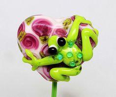 Made to order Margo lampwork beads frog #Lampwork