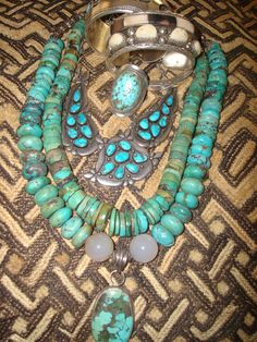 some beautiful turquoise and elk ivory