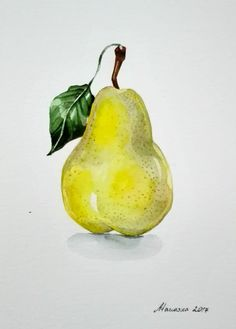 Pear watercolor painting Original watercolor Kitchen decor Fruit wall art Pear art by RoseNLavender on Etsy Watercolor Fruit, Watercolor Flowers, Watercolor Paintings, Original Paintings, Watercolors, Pear Drawing, Fruit Sketch, Fruits Drawing, Fruit Painting