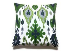 Two Olive Green Navy Blue Charteuse Gray White Ikat Design Pillow Covers Decorative Toss Throw Accent Covers 18 inch pair