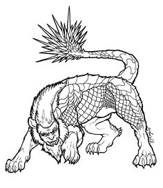 Manticore lineart by on DeviantArt Manticore, Avatar World, Western World, Cryptozoology, Gremlins, Adult Coloring, Monsters, Legends, Moose Art